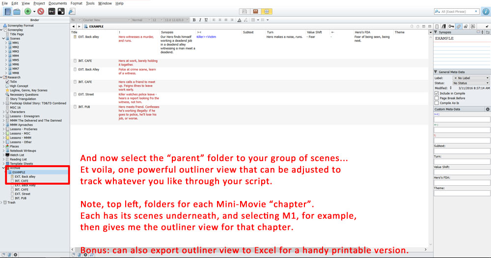 Select parnet folder to view outline of scenes